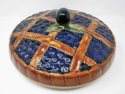 "Vintage Ceramic Blueberry Pie Serving Dish 12 1/2""  - Made In Portugal"
