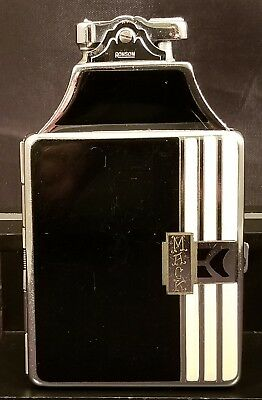 Vintage Ronson Mastercase Cigarette Case Lighter In Enamel And Chromium Plate