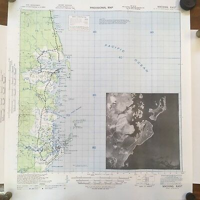 WWII 1943 U.S ARMY MILITARY MAP of MADANG EAST NEW GUINEA 1:63.360 AERIAL PHOTO
