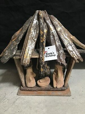 """Christmas In July /Holy Family Stable 10.25"""" Driftwood /nativity Set -Scene"""