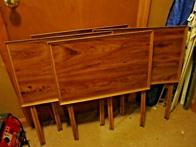 Set of Four Vintage Mid Century Folding Metal & Wood Look Top and Legs TV Trays