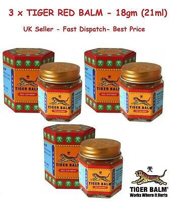 3 TIGER BALM RED -Relief from Headaches,Muscular,Joint Aches&Body pain -21ml 18g