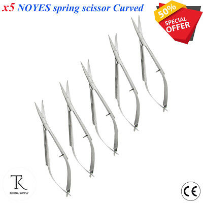 x 5 Microsurgical Scissor Noyes Castroviejo Curved Spring Action Curved Scissors