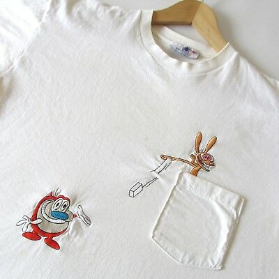 Vtg 90s The Ren & Stimpy Show Nickelodeon Men's Unisex Pocket T-Shirt Embroider