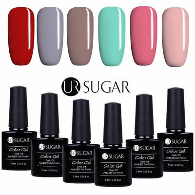 6 Bottles UV Gel Nail Polish Set 7.5ML Soak Off Gel Nails Manicure UR Sugar Kit