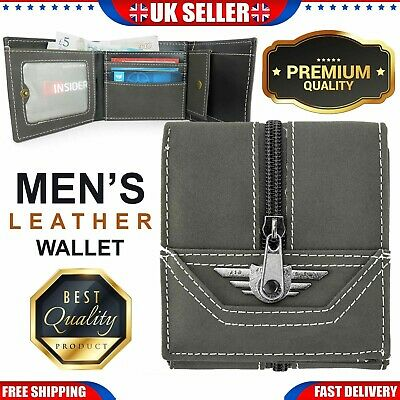 Mens Leather Wallet Luxury Quality ID Credit Card Holder Purse Grey 100% Genuine