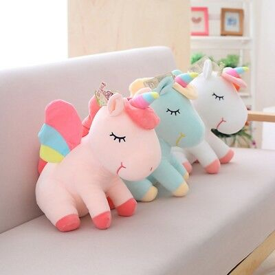 Adorable Unicorn Horse Plush Fluffy Stuffed Animal Doll Toys Kids Gift New
