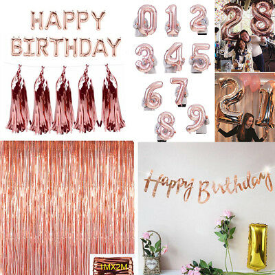 Rose Gold Happy Birthday Bunting Banner Foil Helium Balloons Party Decoration