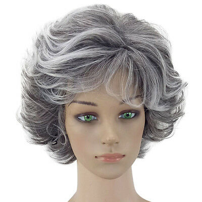 Women Short Grey Curly Hair Synthetic Full Wig Cosplay Party Heat Resistant New