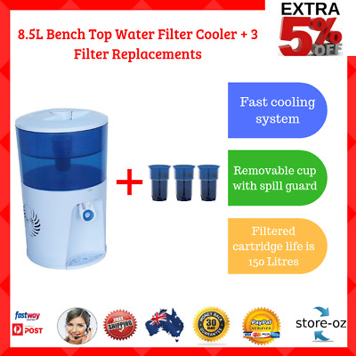 8.5L Bench Top Water Filter Cooler Fast Cooling System + 3 Filter Replacements