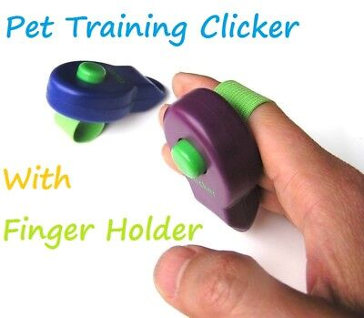 DOG CLICKER PET TRAINING TRAINER TEACHING TOOL PUPPY With Finger Holder