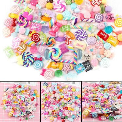 30/60/90pc Slime Beads Mixed Candy Flatbacks Resin Flat Back Scrapbooking Charms