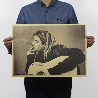 Classic Nirvana Singer Kurt Cobain Kraft Paper Music Poster Vintage Collection