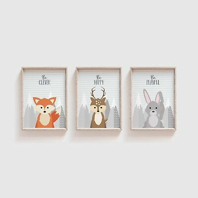 Set of 3 Woodland Animals Nursery Prints Pictures For Boys Girls Bedroom Neutral