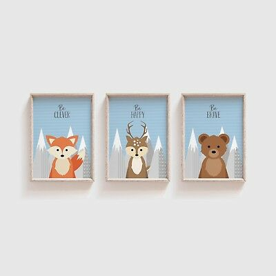 Woodland Animal Nursery Pictures / Peekaboo Animal Prints For Baby Room - Blue