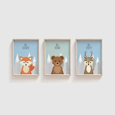 Woodland Animal Nursery Wall Art / Set of 3 Pictures Kids Room - Blue / Green