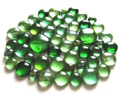 50 x Shades of Green - Assorted Sizes - Art Glass Mosaic Craft Pebble Gem Stones