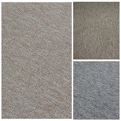 CHEAP HEAVY DUTY Black - Grey Berber Loop Pile Carpet 4m & 5m Wide