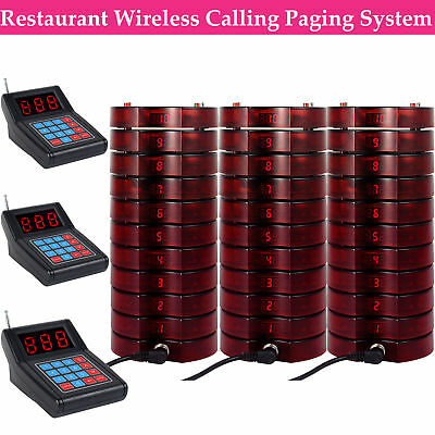 Restaurant Wireless Call Paging Queuing System 3*Transmitter+30*Coaster Pager