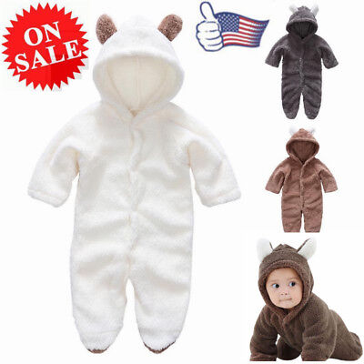 Cute Newborn Baby Boy Warm Hooded Romper Jumpsuit Suits Fluff Outfits Coat Gifts