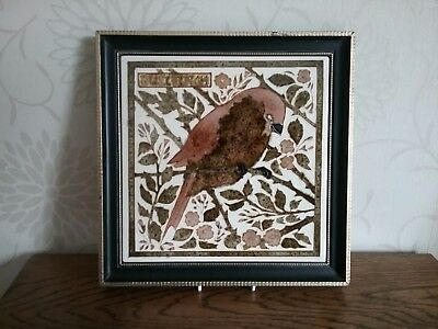 A Maw & Co Majolica tubelined Bullfinch Bird Tile Framed 9.5 inches Square