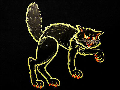 Vintage Halloween Cat Kitty Beistle Die Cut Paper Decoration Jointed Figure USA