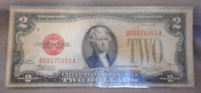 1928 F $2.00 Two Dollar Bill Red Seal D60375050A