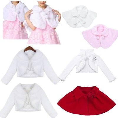 Baby Girls Princess Flower Dress Bolero Shrug Cardigan Faux Fur Jacket Cape Coat