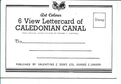Letter card - 6 Vintage Art Colour Views  of CALEDONIAN CANAL. UNPOSTED