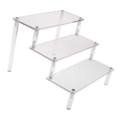 Acrylic Riser Display Shelf Removable Rack 3-Tier Display Stand for Figures