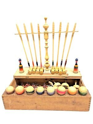 rare Antique german Table croquet in old wooden box