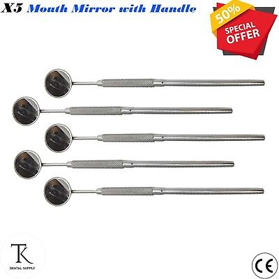 5 x Mouth Mirror with Handle # 4 Dental Surgical Teeth Examination Instrument CE