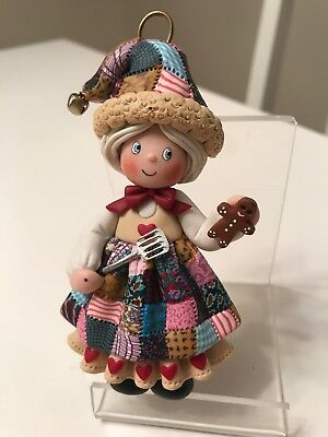 Christmas Ornament Handmade, Fimo Clay, Mrs Claus, Quilted Dress,Gingerbread