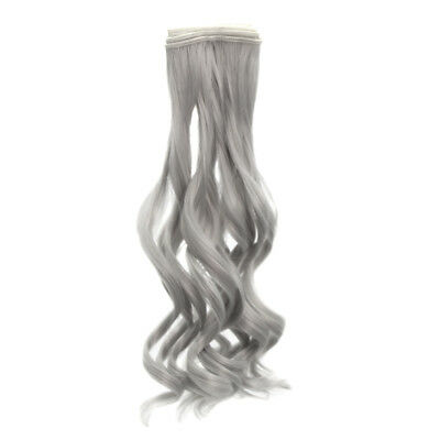 25x100cm DIY Long Curly Wig Hair for BJD SD Barbie Dolls Silver Gray Color