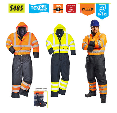 Portwest Hi Vis Contrast Coverall Lined Waterproof Winter Warm Thermal Suit S485