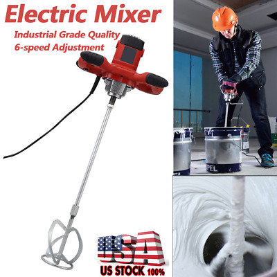 Industrial Grade Electric Mortar Mixer 1500w Gear 6 Speed Paint Cement Grout USA