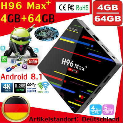 DE H96 Max+Plus 4GB+64GB Android 8.1 Smart TV Box Quad-Core DDR3 4K H.265 5GWiFi