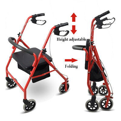 "Red Folding Aluminum Rollator 6"" Casters Senior Medical Aid Walker Padded Seat"