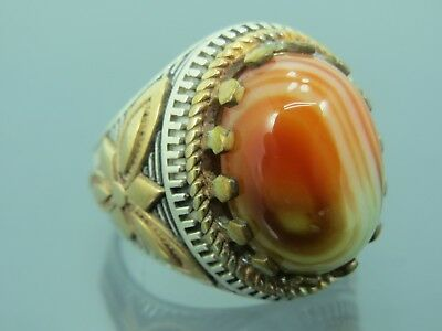 Turkish Handmade Jewelry 925 Sterling Silver Agate Stone Men's Ring Sz 8