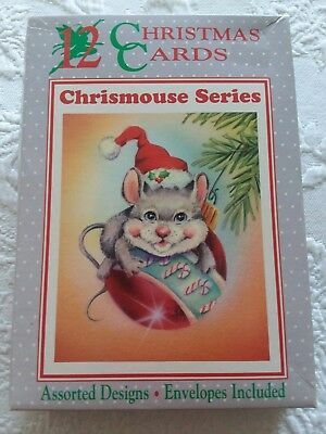 Vintage Box of 7 CHRISMOUSE Series Christmas Cards
