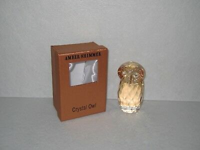 Simon Designs Crystal Amber Shimmer Owl Paperweight NIB