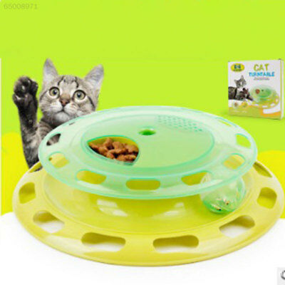 F48A Cat Kitten Food Dispenser Feeder Turntable Teaser Play Interactive Toy