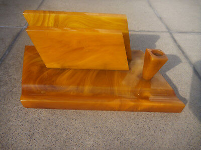 Art Deco Amber Color Bakelite Catalin Desk Set  626 grams tested