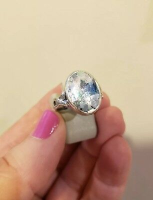 Sterling Silver ANCIENT ROMAN GLASS Ring, Size 6, Twist Shank, With CERTIFICATE