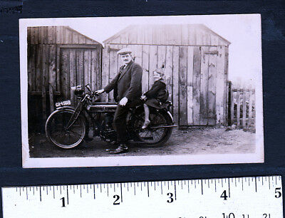 Man & Girl On An Early Mororcycle..c.1910 Snapshot Photo..Super Nice...#201P1