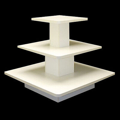 3 tier rectangle shop display , top quality item, brand new ,white