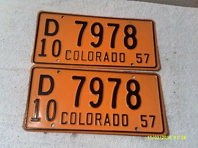 1957 Colorado License Plates Number Tag PAIR Plates  NEW