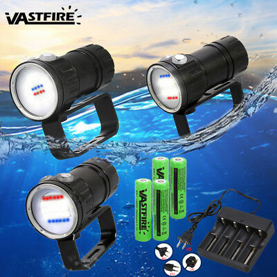 Diving Light Underwater Video LED 50000LM White Red Blue Photography Flashlight