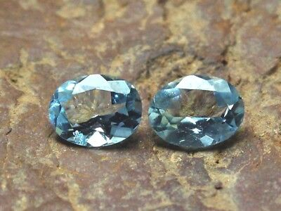 AAA++ Natural Blue Aquamarine 2 PCS Pair Oval Shape Faceted Loose Gemstone 5x3MM