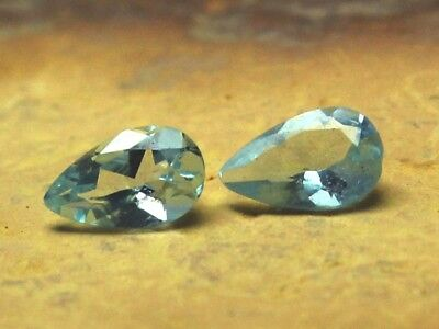 AAA++ Natural Blue Aquamarine, 2 PCS Pair, Pear Faceted Loose Gemstone 3x5MM